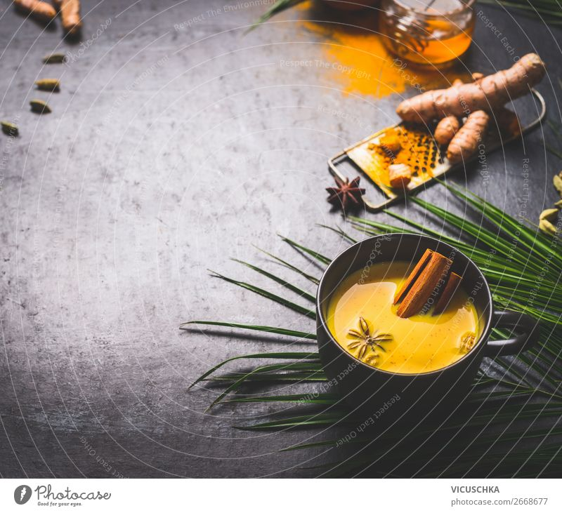 Cup with golden turmeric milk and spices Food Herbs and spices Nutrition Organic produce Diet Asian Food Beverage Hot drink Milk Tea Crockery Style Design