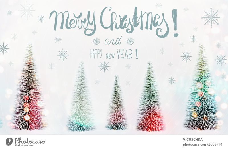 Merry Christmas and Happy New Year Christmas Card Style Design Winter Snow Decoration Feasts & Celebrations Christmas & Advent Nature Forest Sign Flag Moody