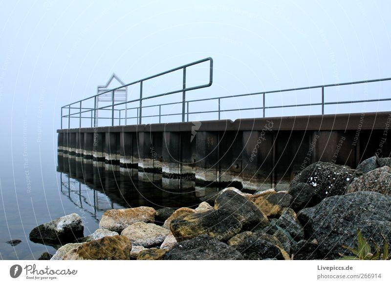 there bridge Landscape Autumn Fog Lakeside Stone Metal Water Gray Jetty Colour photo Exterior shot Day Worm's-eye view