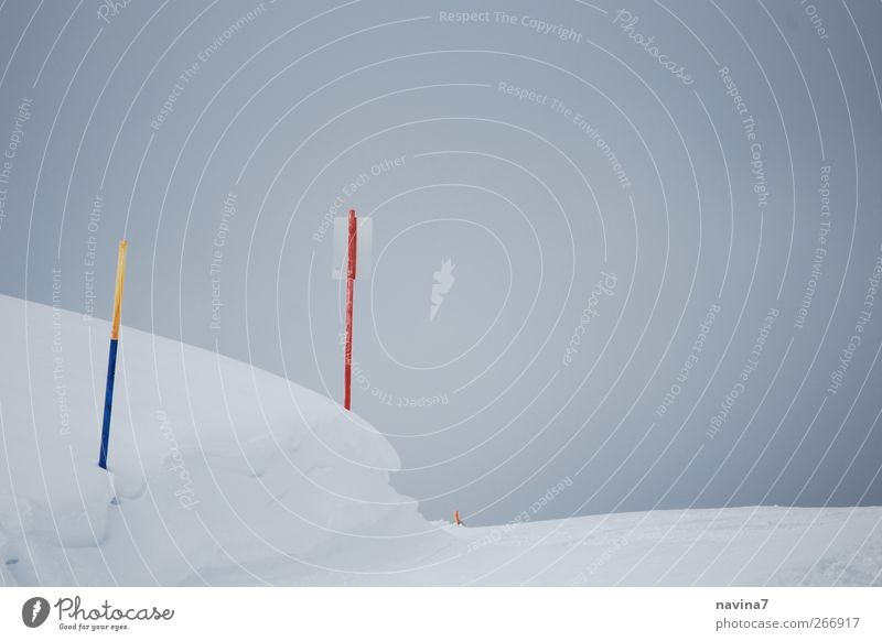 snow fog Ski run Fog Snow Bright White Bright background Mountain Colour photo Exterior shot Deserted Copy Space right Signs and labeling
