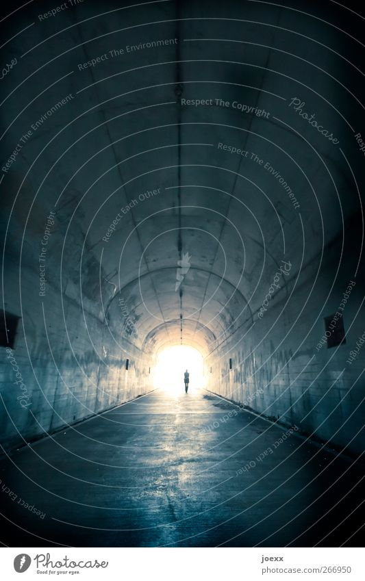 reunion 1 Human being Tunnel Lanes & trails Discover Going Dark Free Infinity Bright Blue Black White To console Calm Hope Belief Death Wanderlust Loneliness