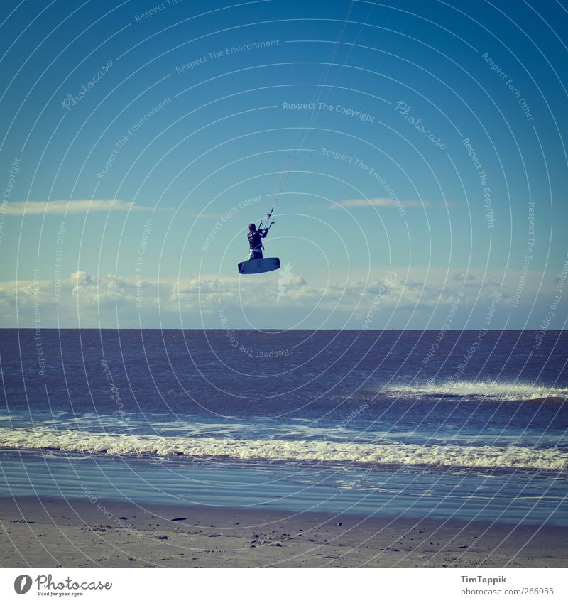 Vacation & Travel Ocean Beach Sports Coast Jump Waves Leisure and hobbies Fly North Sea Athletic Surfing Surf Surfer Sportsperson Surfboard