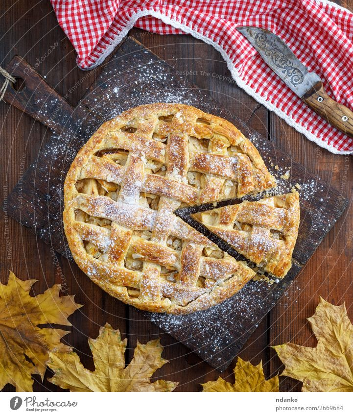 whole round apple pie Fruit Apple Dessert Candy Lunch Dinner Knives Table Kitchen Autumn Wood Eating Fresh Delicious Above Brown Red Tradition American