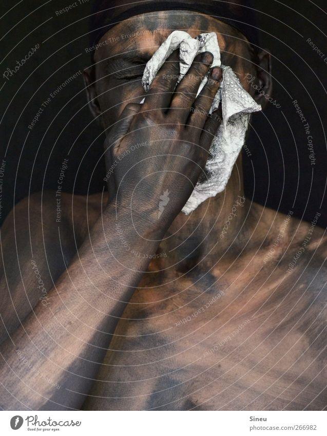 Human being Hand Black Dark Head Arm Dirty Skin Fingers Cleaning Pain Personal hygiene Disgust Rag Hideous