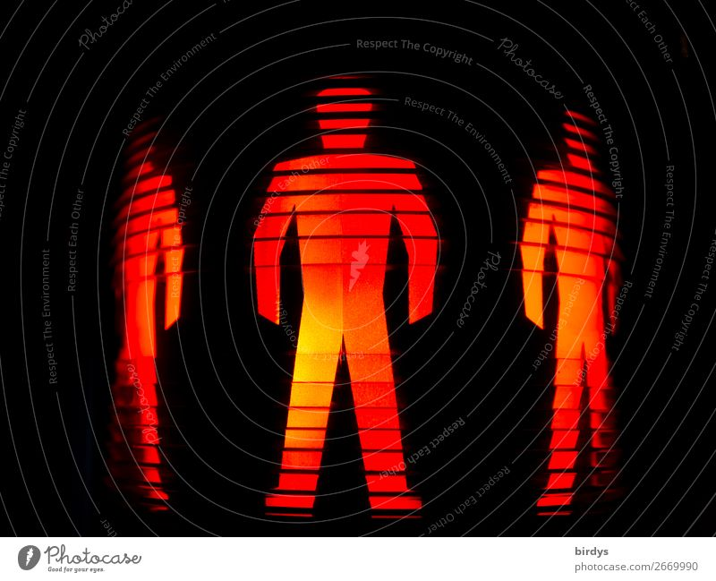 Symbol image, red people standing, traffic light symbol, motionless Masculine 3 Human being Passenger traffic Road traffic Pedestrian Traffic light Road sign