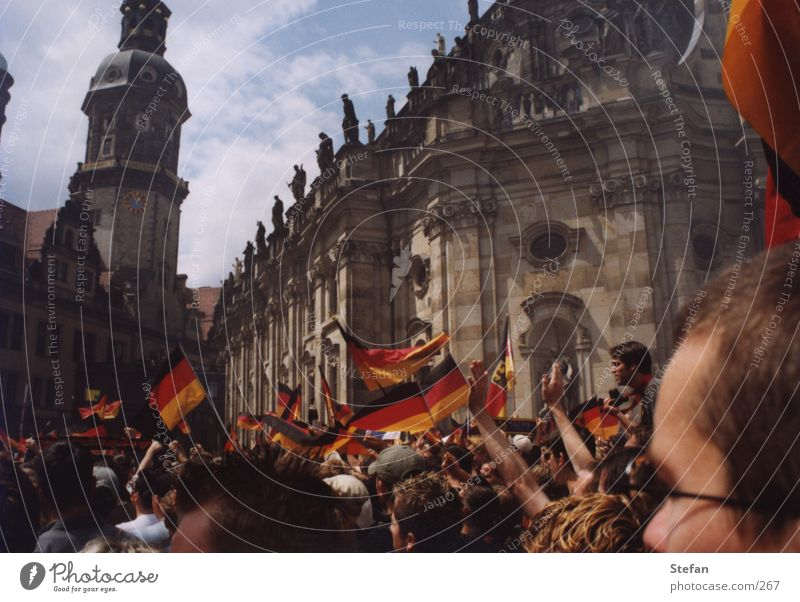 Human being Group Feasts & Celebrations Germany Soccer Flag German Flag Dresden Crowd of people Fan Saxony Euphoria World Cup Final Patriotism Hofkirche