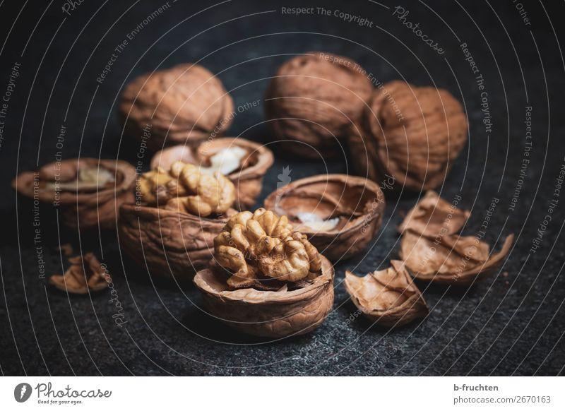 walnuts Food Organic produce Vegetarian diet Slow food Healthy Eating Table Select Dark Fresh Brown Black To enjoy Nut Walnut Sheath Edible nut Colour photo
