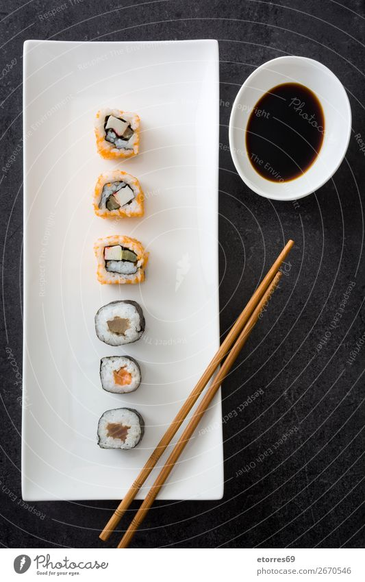 sushi assortment and soy sauce Sushi Food Healthy Eating Food photograph Japanese Rice Fish Salmon Seafood Roll Meal Make Gourmet Asia Raw Seaweed Dinner White