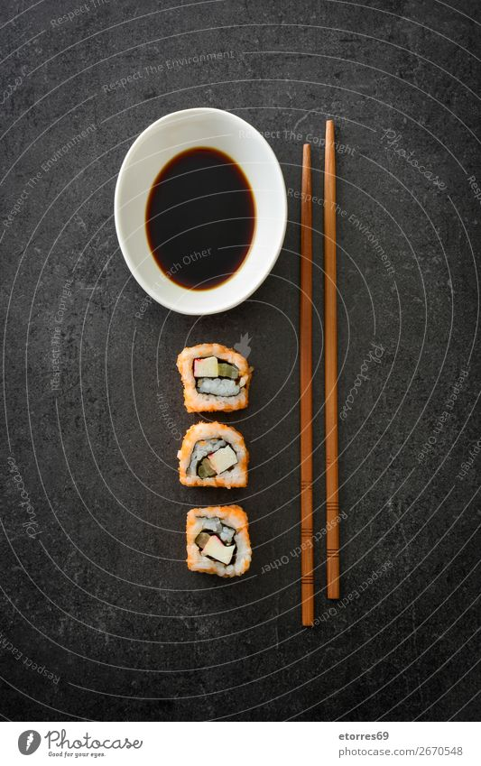 sushi assortment and soya sauce on black background Sushi Food Healthy Eating Food photograph Japanese Rice Fish Salmon Seafood Roll Meal Make Gourmet Asia Raw