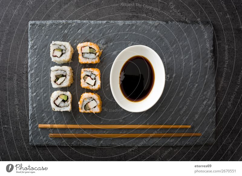 sushi assortment and soya sauce in black slate Sushi Food Healthy Eating Food photograph Japanese Rice Fish Salmon Seafood Roll Meal Make Gourmet Asia Raw