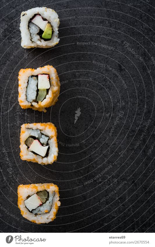sushi assortment on black background. Sushi Food Healthy Eating Food photograph Japanese Rice Fish Salmon Seafood Roll Meal Make Gourmet Asia Raw Seaweed Dinner