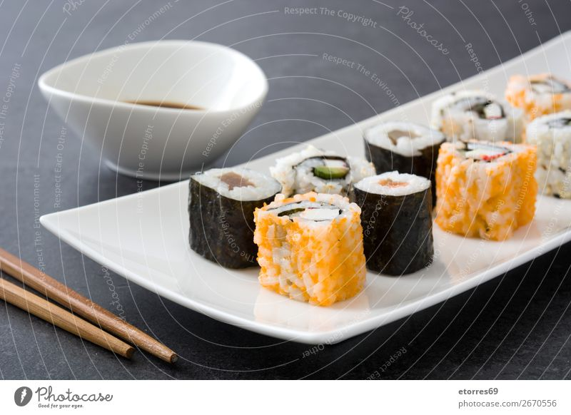 sushi assortment in white plate on black background Sushi Food Healthy Eating Food photograph Japanese Rice Fish Salmon Seafood Roll Meal Make Gourmet Asia Raw