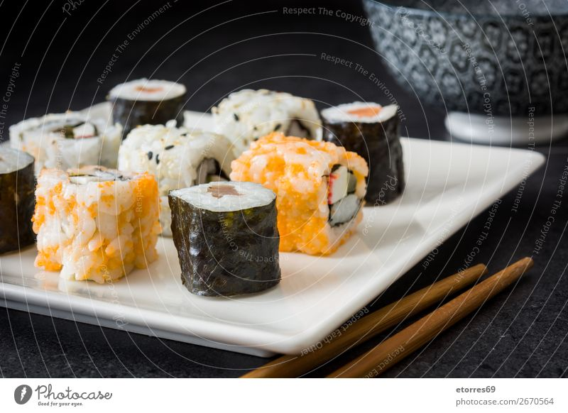 sushi assortment in white plate and soya sauce Sushi Food Healthy Eating Food photograph Japanese Rice Fish Salmon Seafood Roll Meal Make Gourmet Asia Raw