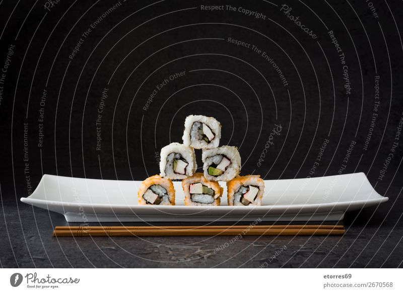 sushi assortment in white plate on black background Sushi Food Healthy Eating Food photograph Japanese Rice Fish Salmon Seafood Roll Meal Plate maki Gourmet