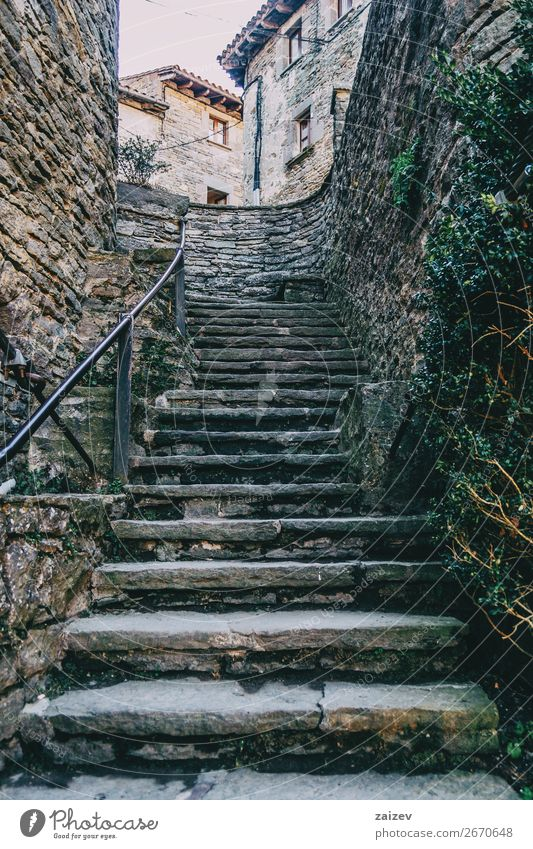 Stone ascendant stairs in a medieval village Old Plant Town Green House (Residential Structure) Loneliness Street Architecture Building Tourism Gray