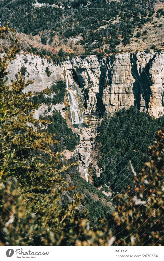 A detail of a cliff with a waterfall framed by the leaves of some trees Beautiful Calm Vacation & Travel Adventure Mountain Hiking Environment Nature Landscape