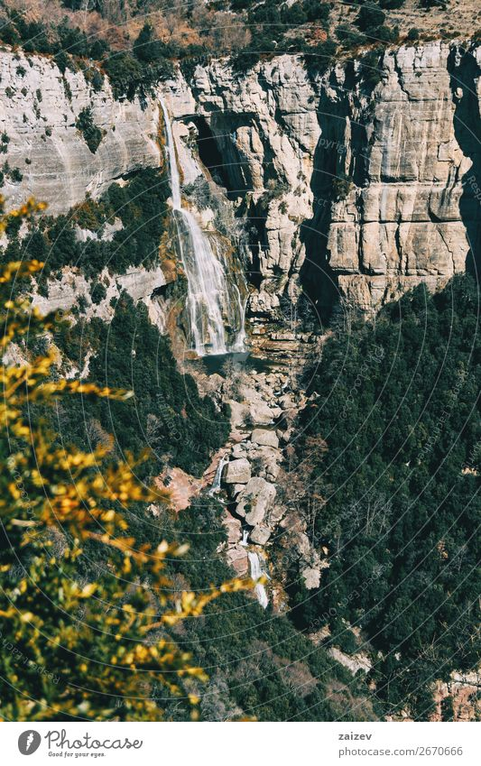 A detail of a cliff with a waterfall Beautiful Calm Vacation & Travel Adventure Mountain Hiking Environment Nature Landscape Plant Autumn Tree Bushes Leaf Hill