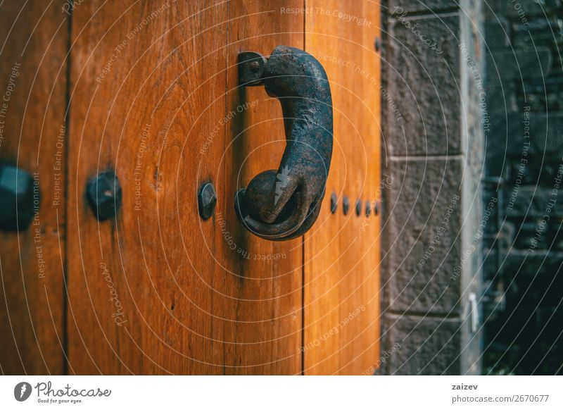 An old metal knocker shaped like a hand on a wooden door of a medieval village Design Vacation & Travel Tourism House (Residential Structure) Decoration Hand