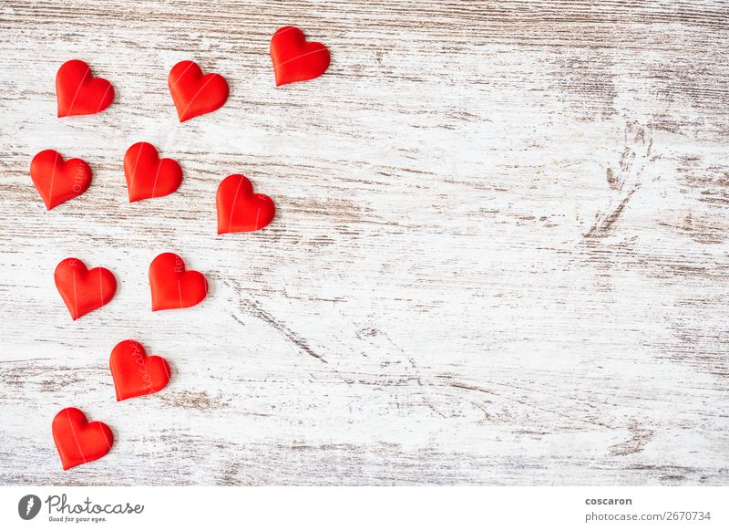 Many hearts on a wooden background. Valentines day concept. Old Beautiful White Red Healthy Wood Love Emotions Happy Health care Feasts & Celebrations Art Brown