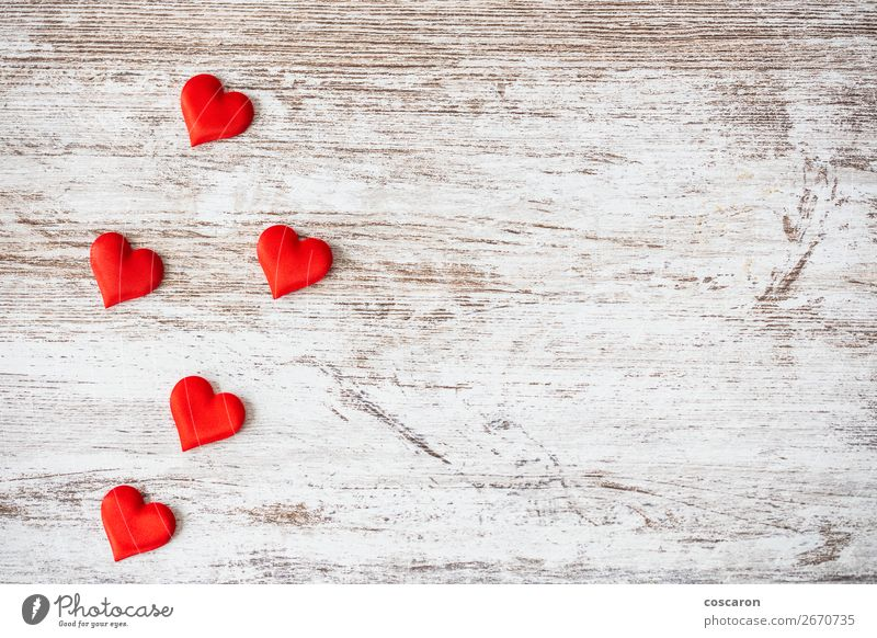 Many hearts on a wooden background. Valentines day concept. Old Beautiful White Red Healthy Lifestyle Wood Love Emotions Happy Health care Feasts & Celebrations