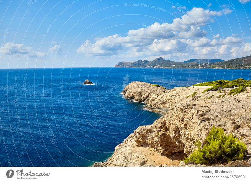 Scenic landscape of Capdepera region, Mallorca. Vacation & Travel Tourism Trip Adventure Far-off places Freedom Summer Ocean Island Waves Nature Landscape Sky