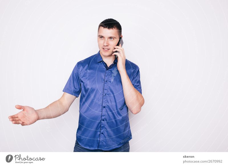 young guy emotionally talking on the phone Parenting Education Work and employment Profession Telephone Cellphone Technology Entertainment electronics