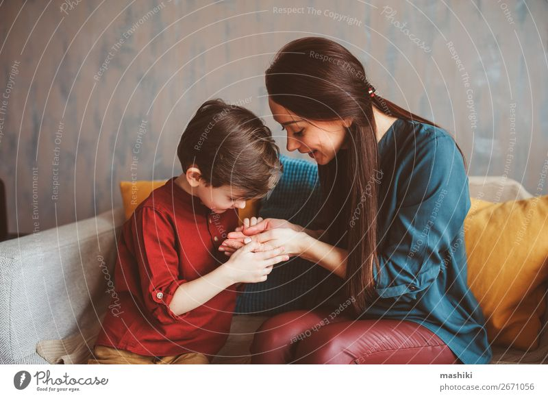 indoor portrait of happy mother and child son Child Joy Lifestyle Adults Love Emotions Family & Relations Laughter Boy (child) Small Playing School Together