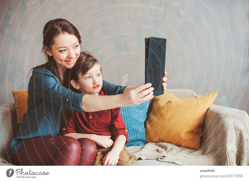 happy mother and toddler son using tablet Child Relaxation Joy Lifestyle Adults Family & Relations Boy (child) Playing School Together Leisure and hobbies