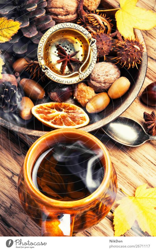 autumnal tea hot cup drink season fall table wood warm rustic chestnut leave leaf beverage food relaxation yellow concept rural october natural seasonal