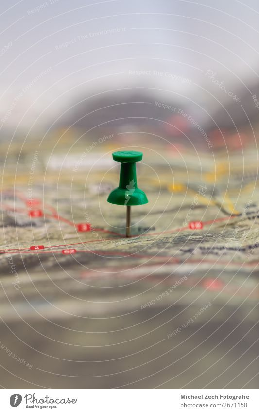 green pin marks a location of a destination on a map Vacation & Travel Trip Street Paper Green Colour Accuracy Mark Map Aim cartography Conceptual design