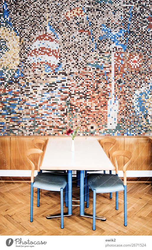 cafeteria Interior design Decoration Furniture Chair Table Room Mensa Dining hall Art Work of art Wall (barrier) Wall (building) Mosaic Mural painting
