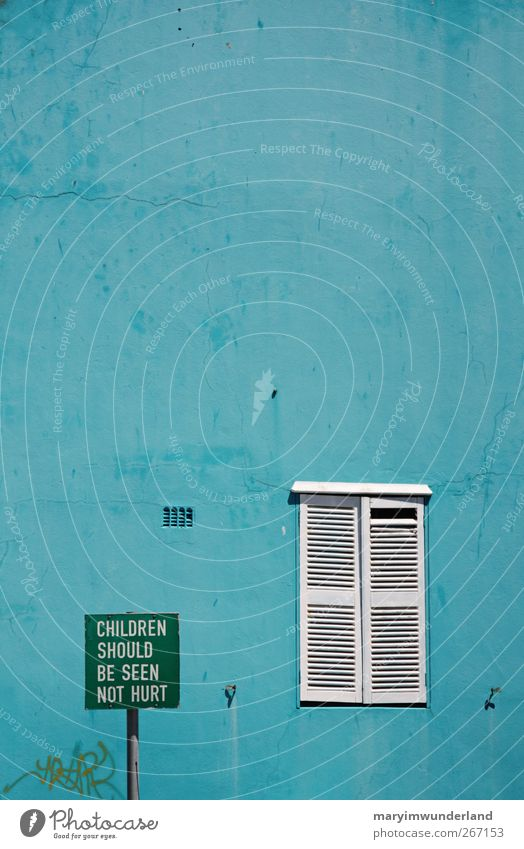 Blue Green House (Residential Structure) Window Wall (building) Wall (barrier) Facade Signs and labeling Crazy Turquoise Testing & Control Respect Graphic
