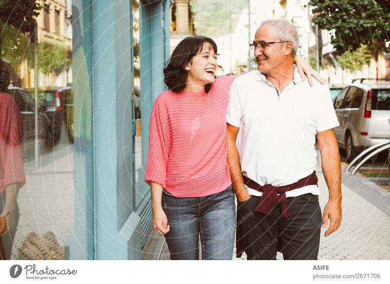 Complicity between father and daughter Joy Happy Beautiful Woman Adults Man Parents Father Family & Relations Street Eyeglasses Smiling Laughter Love Happiness