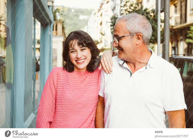 She is the apple of dad´s eye Joy Happy Beautiful Woman Adults Man Parents Father Family & Relations Street Eyeglasses Smiling Laughter Love Happiness Together