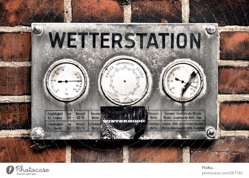 weather station Measuring instrument Thermometer Barometer Weather station Climate Climate change Metal Brick Old Broken Retro Gloomy Gray Red Silver Measure