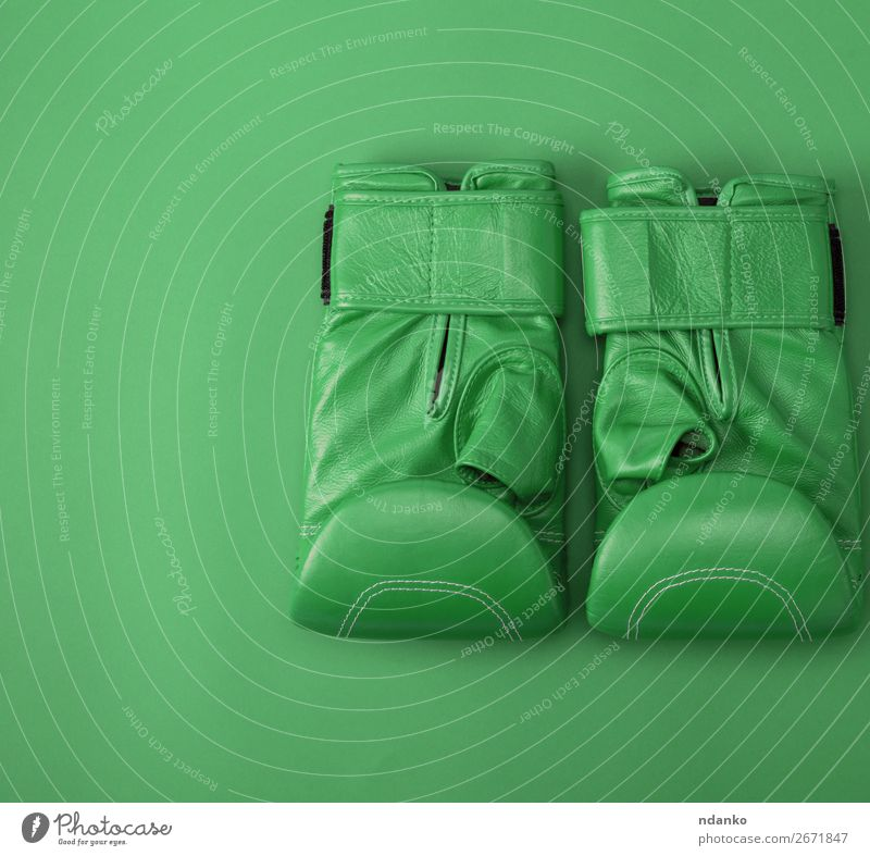 green sport leather boxing gloves Lifestyle Fitness Sports Clothing Leather Gloves New Above Green Protection Colour Competition Creativity background boxer