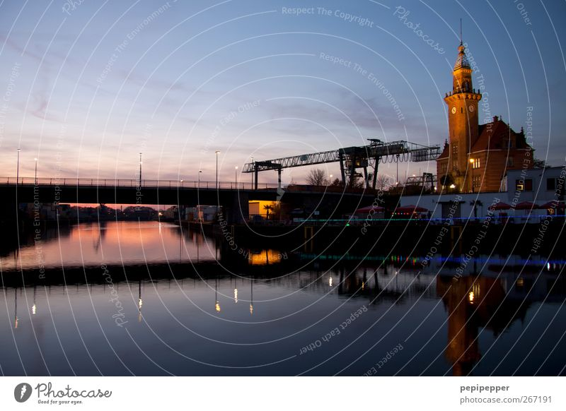 harbor Sightseeing Work and employment Workplace Industry Logistics Museum Architecture Water Horizon Sunrise Sunset River bank Town Calm Dortmund