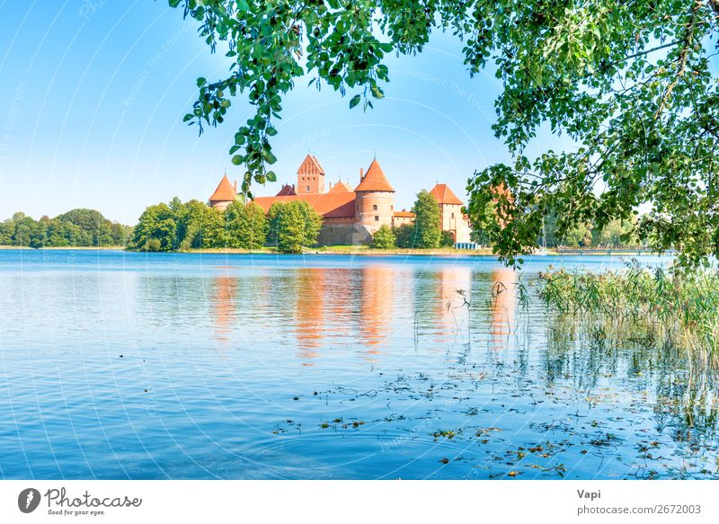 Trakai castle on island lake Sky Vacation & Travel Nature Old Summer Plant Blue Town Beautiful Green Water White Landscape Red Tree Leaf