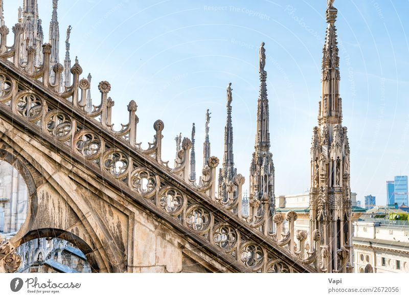 Architecture on roof of Duomo cathedral Beautiful Vacation & Travel Tourism Sightseeing City trip Decoration Art Sculpture Sky Sunlight Town Church Dome Palace