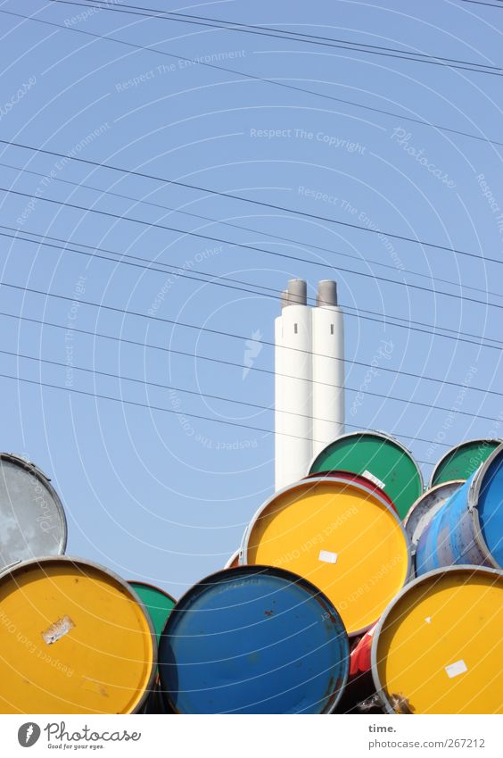 Lie Energy industry Electricity Stand Cable Tower Beautiful weather Luxury Trade Chimney High voltage power line Equal Keg