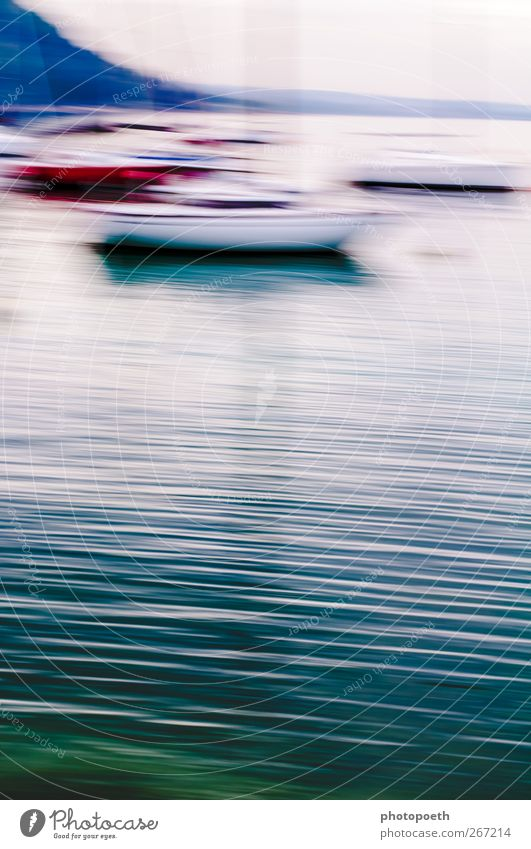 Impressionism in Garda Landscape Water Waves Lake Lake Garda Line Moody Calm Dream Esthetic Loneliness Idyll Far-off places Sailboat Green Blue Surface of water