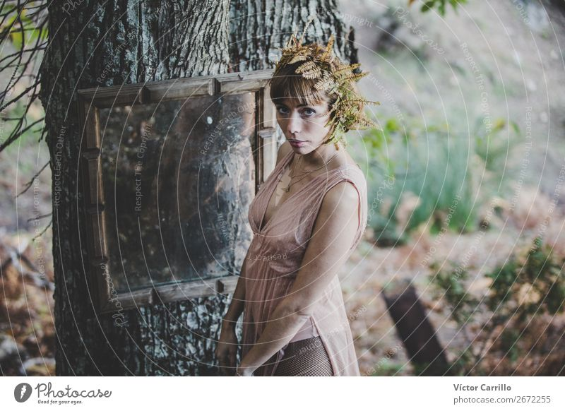 A Young Woman Standing in the Woods Lifestyle Elegant Style Design Exotic Joy Face Cosmetics Perfume Human being Feminine Young woman Youth (Young adults)