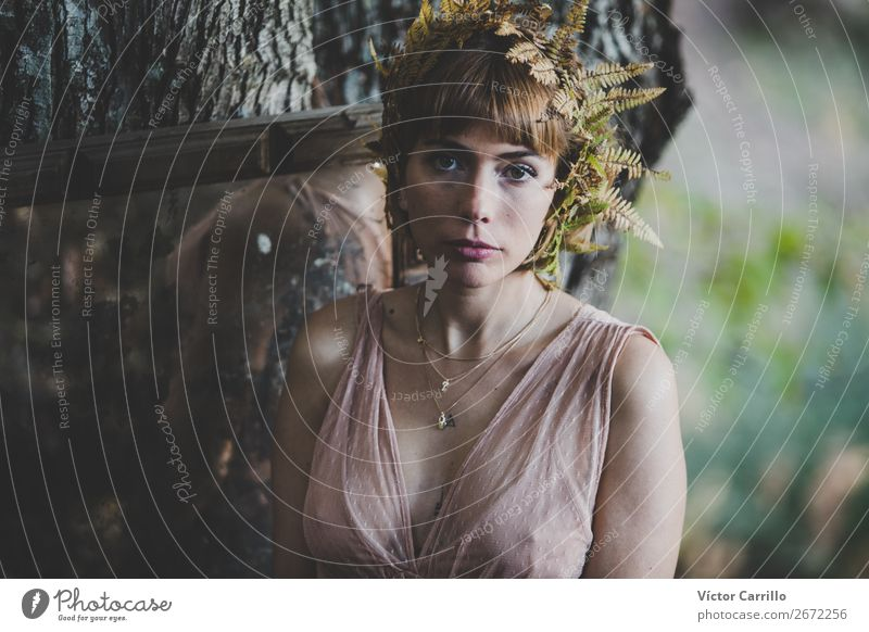 A Young Woman Standing in the Woods Lifestyle Elegant Style Design Exotic Joy Human being Feminine Young woman Youth (Young adults) Adults 1 18 - 30 years