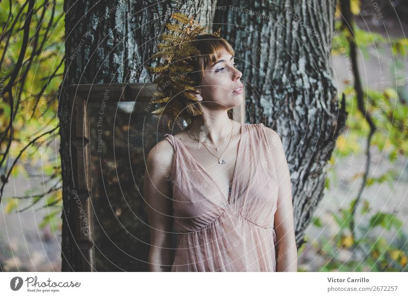 A Young Woman Standing in the Woods Lifestyle Elegant Style Design Exotic Beautiful Human being Feminine Young woman Youth (Young adults) Adults 1 18 - 30 years
