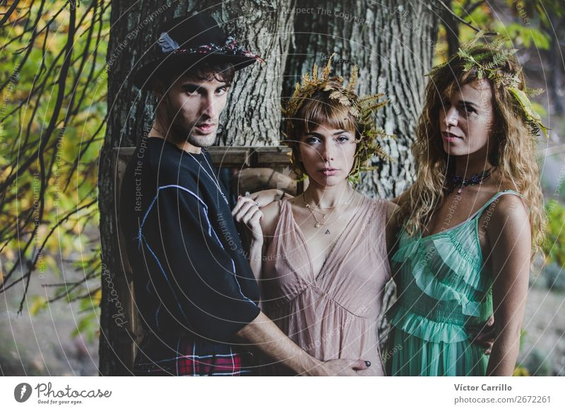 A Young group of friends Standing in the Woods Lifestyle Elegant Style Design Exotic Beautiful Human being Masculine Feminine Androgynous Homosexual Young woman