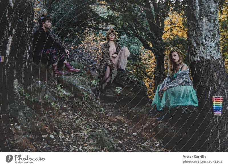 A Young group of friends Standing in the Woods Lifestyle Elegant Style Design Exotic Joy Human being Masculine Feminine Young woman Youth (Young adults)
