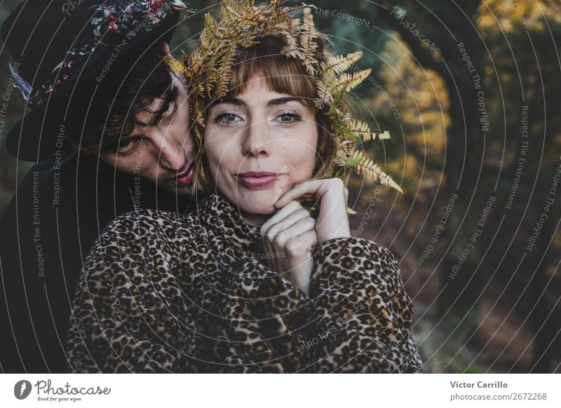 A Young Couple Standing in the Woods Woman Human being Youth (Young adults) Man Young woman Beautiful Young man Eroticism 18 - 30 years Lifestyle Adults Love