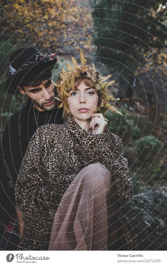 A Young Couple Standing in the Woods Lifestyle Elegant Style Design Human being Masculine Feminine Young woman Youth (Young adults) Young man Woman Adults Man