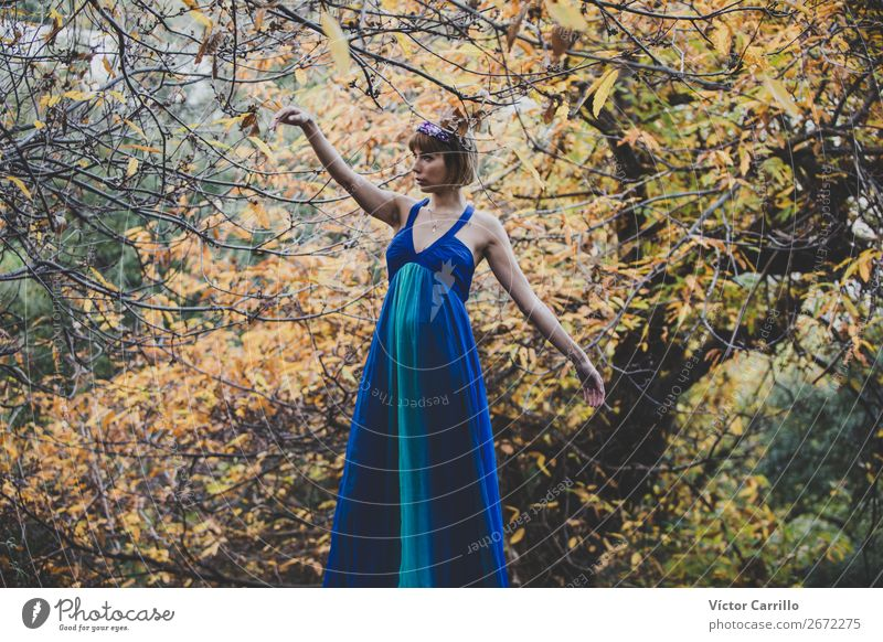 A Young Woman Standing in the Woods Lifestyle Elegant Style Design Exotic Joy Perfume Human being Feminine Young woman Youth (Young adults) Adults 18 - 30 years