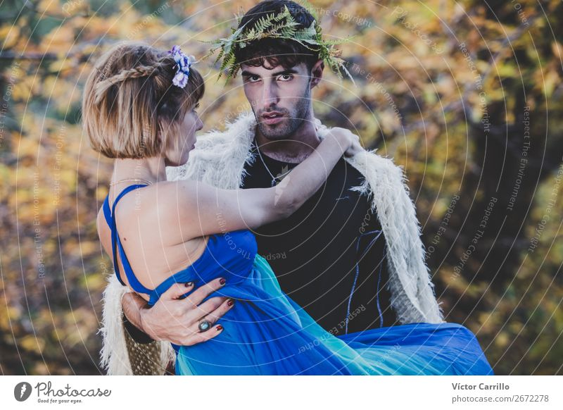 A Young couple Standing in the Woods Lifestyle Elegant Style Design Exotic Human being Masculine Feminine Young woman Youth (Young adults) Young man